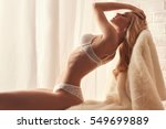 Stock photo beautiful sexy blond young woman in underwear at home beauty elegant fashion glamour lifestyle 549699889