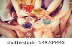 girls with cocktails toasting... | Shutterstock . vector #549704443