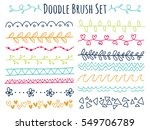 set of colorful doodle brush... | Shutterstock .eps vector #549706789