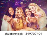 pretty girls pointing with... | Shutterstock . vector #549707404