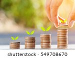 closeup of hand put coins to... | Shutterstock . vector #549708670
