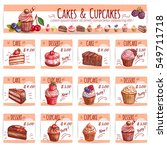 cake and cupcake bakery menu... | Shutterstock .eps vector #549711718