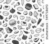 burger ingredients. hand drawn... | Shutterstock .eps vector #549718693