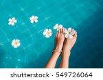 beautiful female foot in... | Shutterstock . vector #549726064
