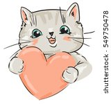 Stock vector cute card for valentine s day cat and heart vector 549750478