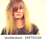 bad hairstyle concept. sad... | Shutterstock . vector #549755134