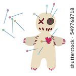 voodoo doll pierced with pins... | Shutterstock .eps vector #549768718