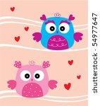 love owl wedding | Shutterstock .eps vector #54977647