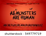 scary brush alphabet font with... | Shutterstock .eps vector #549779719