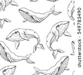 whale seamless pattern. hand... | Shutterstock .eps vector #549783490