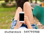 woman using white smart phone... | Shutterstock . vector #549795988