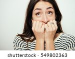 the woman is afraid of fear | Shutterstock . vector #549802363