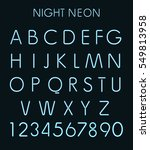 blue light neon alphabet in... | Shutterstock . vector #549813958