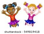 happy cartoon young girls  one... | Shutterstock . vector #549819418