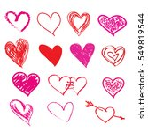 hand drawn sketch hearts for... | Shutterstock . vector #549819544