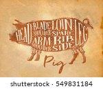 poster pig pork cutting scheme... | Shutterstock .eps vector #549831184