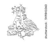 vulture socotra island on stone ... | Shutterstock .eps vector #549841060