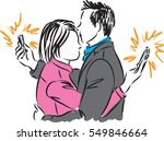 business couple with phones... | Shutterstock .eps vector #549846664