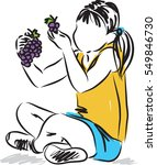 little girl eating grapes snack ... | Shutterstock .eps vector #549846730