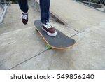 young skateboarder legs riding...   Shutterstock . vector #549856240