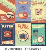 retro gadgets cartoon posters... | Shutterstock .eps vector #549860914