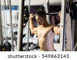 sport man exercising with... | Shutterstock . vector #549863143