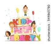 kids party flat design template ... | Shutterstock .eps vector #549865780