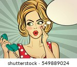 surprised pop art woman with... | Shutterstock .eps vector #549889024