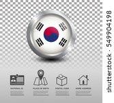 circle flag of korea in glossy... | Shutterstock .eps vector #549904198