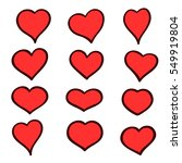 set of hand drawn sketch hearts.... | Shutterstock .eps vector #549919804