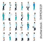 set trendy isometric people.... | Shutterstock .eps vector #549924319