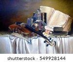 violin and books still life oil ... | Shutterstock . vector #549928144