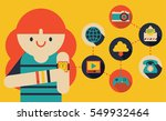 woman with wristwatch sees all... | Shutterstock .eps vector #549932464