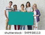group of friends holding blank... | Shutterstock . vector #549938113