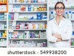 pharmacist chemist woman... | Shutterstock . vector #549938200
