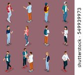 trendy isometric young people ... | Shutterstock .eps vector #549939973
