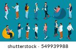 trendy isometric young people ... | Shutterstock .eps vector #549939988