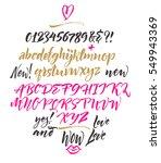 handwritten script font. brush... | Shutterstock .eps vector #549943369