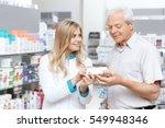 helpful pharmacist. cheerful...   Shutterstock . vector #549948346