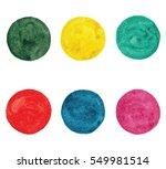 six watercolor vector circles... | Shutterstock .eps vector #549981514