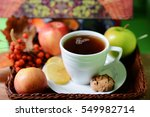 tea in a white cup. the cup... | Shutterstock . vector #549982714