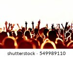 silhouettes of concert crowd in ... | Shutterstock . vector #549989110