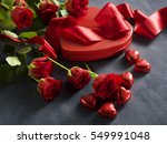 Gift Box With Red Roses And A...