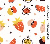 hand drawn lovely fruits... | Shutterstock .eps vector #549993544