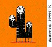 cute black monster with... | Shutterstock .eps vector #549995470