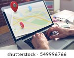 map location marker against... | Shutterstock . vector #549996766
