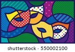 masks. venetian masks. pop art... | Shutterstock .eps vector #550002100