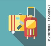suitcase on wheels icon. flat... | Shutterstock . vector #550005679
