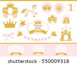 pink and gold princess party... | Shutterstock .eps vector #550009318