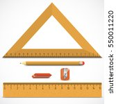 wooden triangle  ruler and... | Shutterstock .eps vector #550011220